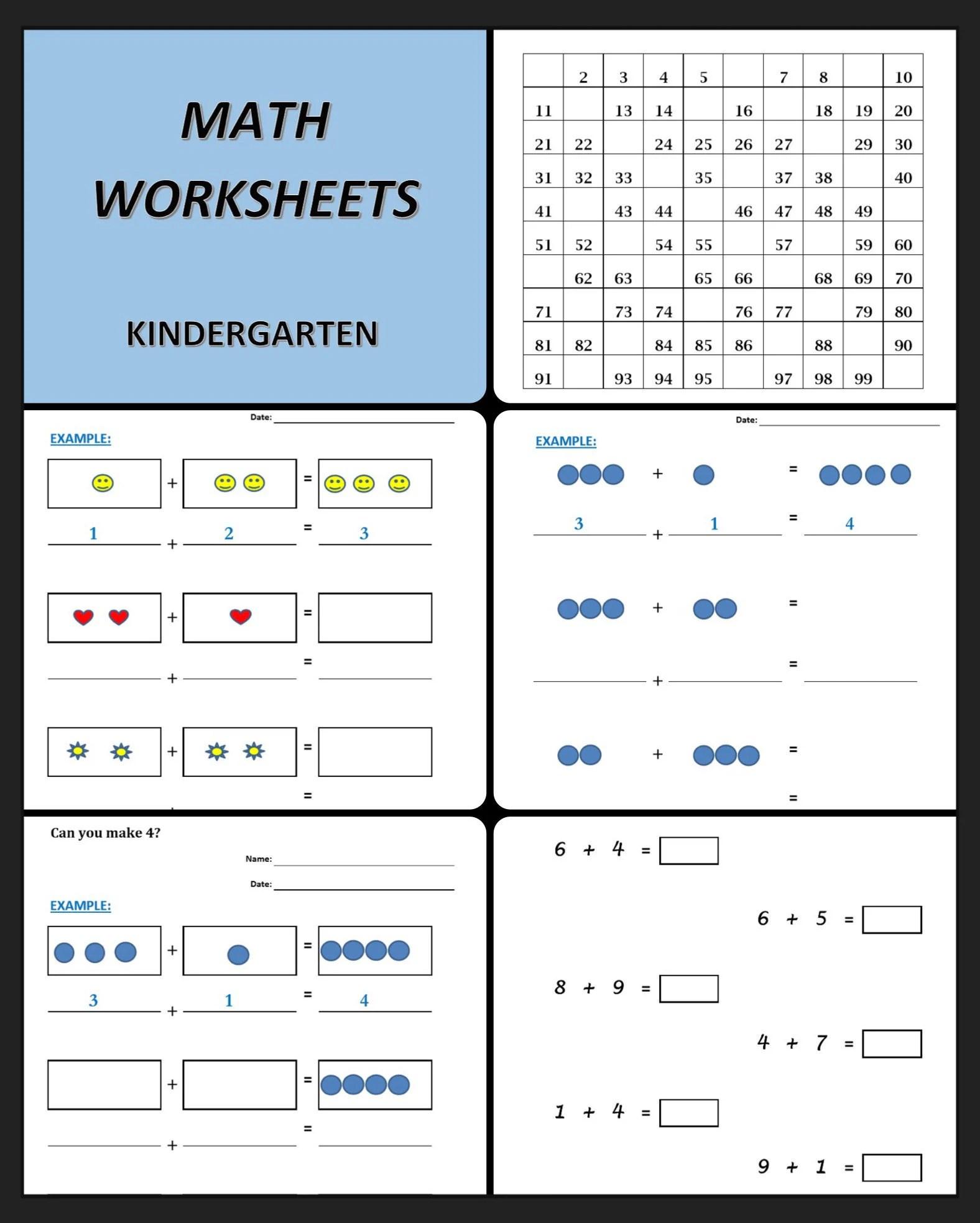 Math Worksheets For Kindergarten 41 Printable Worksheets