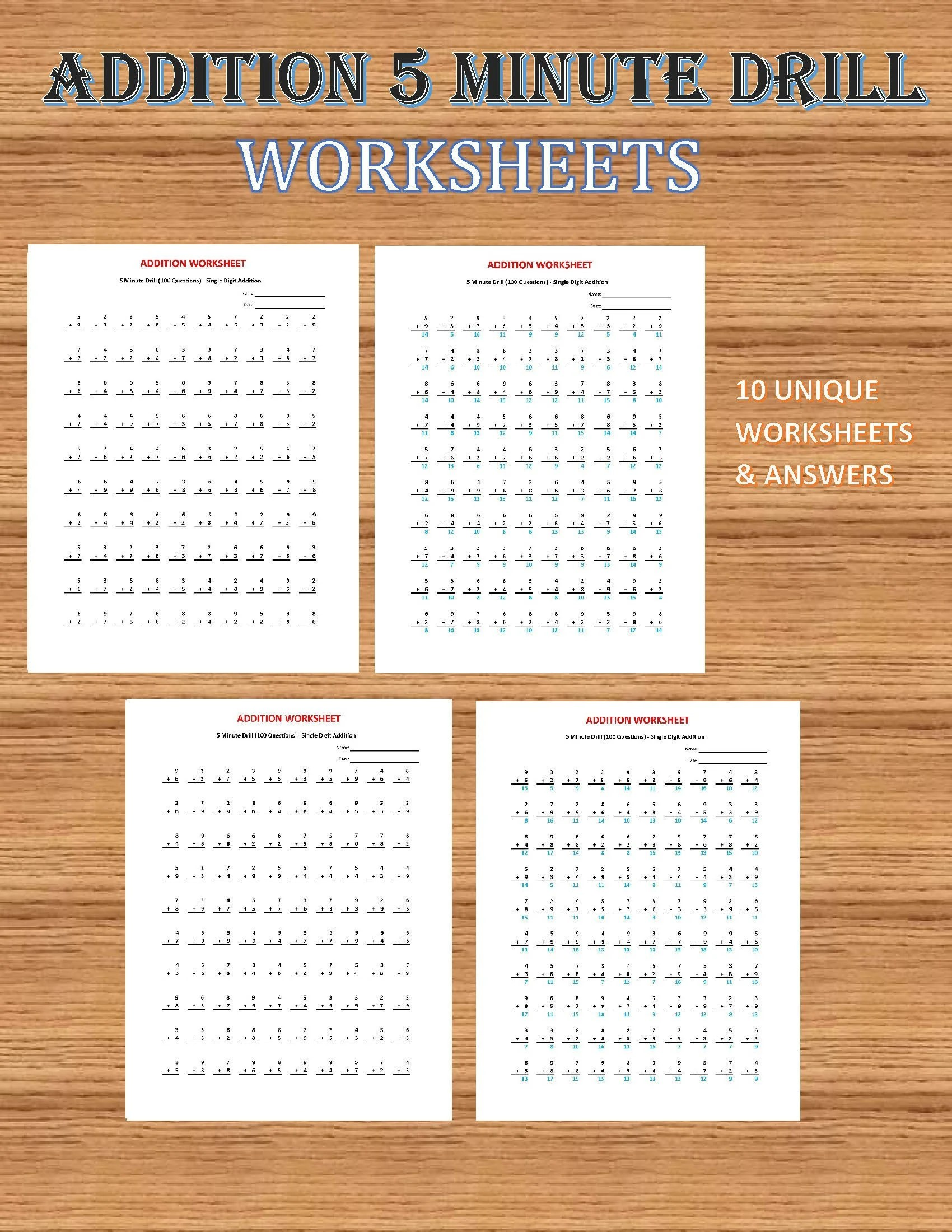 Addition 5 Minute Drill V 10 Math Worksheets With
