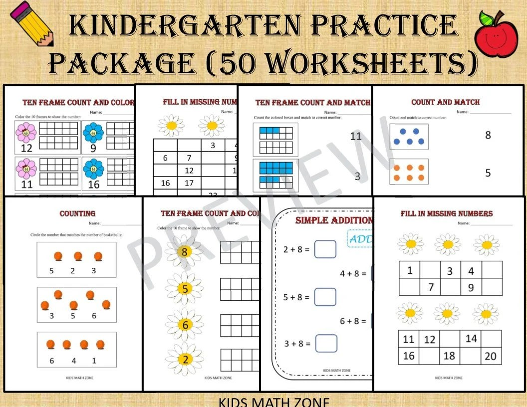 Kindergarten Practice Package 50 Math Worksheets For