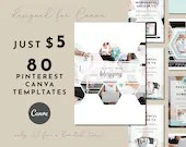 80 Customizable Pinterest Templates for Canva - Turquoise Hexagon Design Templates