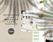Canva Workbook Template, Canva Template Refreshing Lime Theme, Green Workbook and Canva Magazine Set