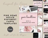 Pink Glitter Home Office Pinterest Canva Templates - Glamorous Bling - Feminine Brands, Glitter Paper, Pin Design Templates