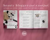 eBook & Workbook Canva Template Beauty Blogger Design - Plus Bonus 10 Pinterest and 10 Instagram Matching Canva Templates