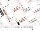 30 Blush Canva Workbook Templates | Canva Templates | Blush | Canva Worksheets | Templates