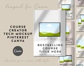 Course Creator Tech Mockup Pinterest Templates for Canva in Pink, Beige and Rose Gold