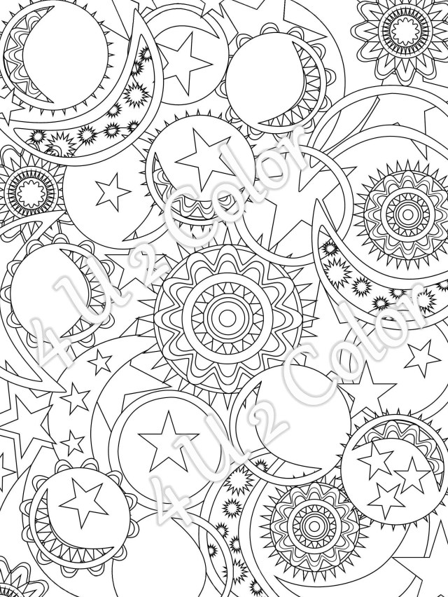 Sun - Moon - Stars - #20, coloring page, sun, moon & stars coloring page,  adult coloring page, printable coloring page, downloadable page