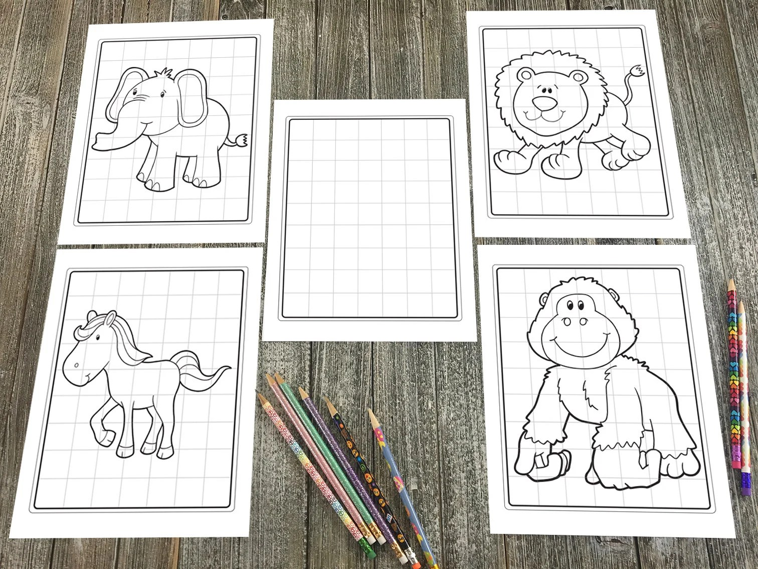 Grid Drawing Cute Animal Worksheet Pages Downloadable