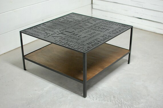 industrial coffee table two tier table wood table shelf coffee table storage square coffee table atlanta typography city decor