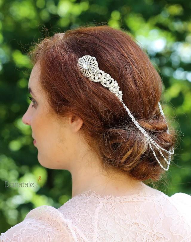 art deco hair chain, bridal head chain, crystal hair chain, vintage style hair accessory, bridal hair comb rhinestone wedding hair accessory