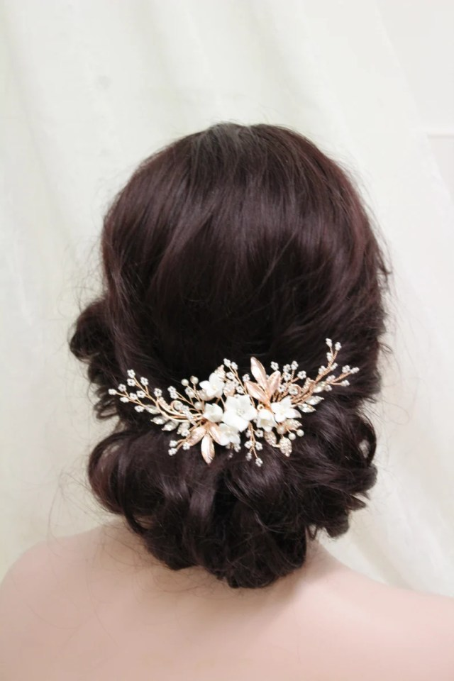 rose gold or silver bridal hair comb, floral hair comb, wedding headpiece, bridal hair vine, wedding hair comb, hair jewelry, hair accessory