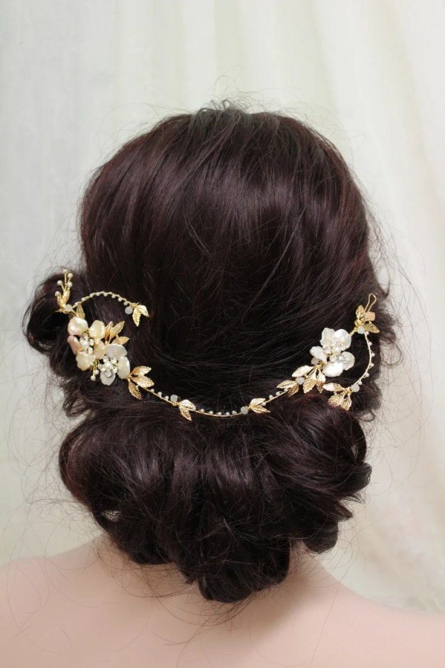 gold freshwater pearl hair vine , wedding hair vine, bridal leaves head piece, back headpiece, hair jewelry, floral hair, hair accessory, uk