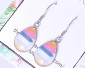 Painterly stripe glass teardrop dangle earrings, dangle earring, earrings for women, colorful jewelry, minimalist earring, gift for her