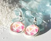 Pink Triangle Geometric Drop Earring, dangle earring, earrings for women, colorful jewelry, minimalist earring, gift for her, mother's day