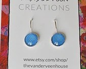 Blue Polka Dot Round Leverback earrings, earrings for women, jewelry for women, gift for women, colorful jewelry, minimalist jewelry