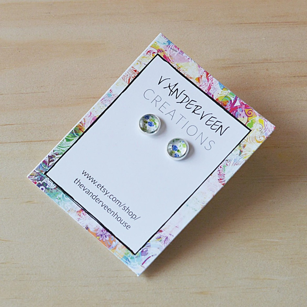 Floral Glass Stud Earring...