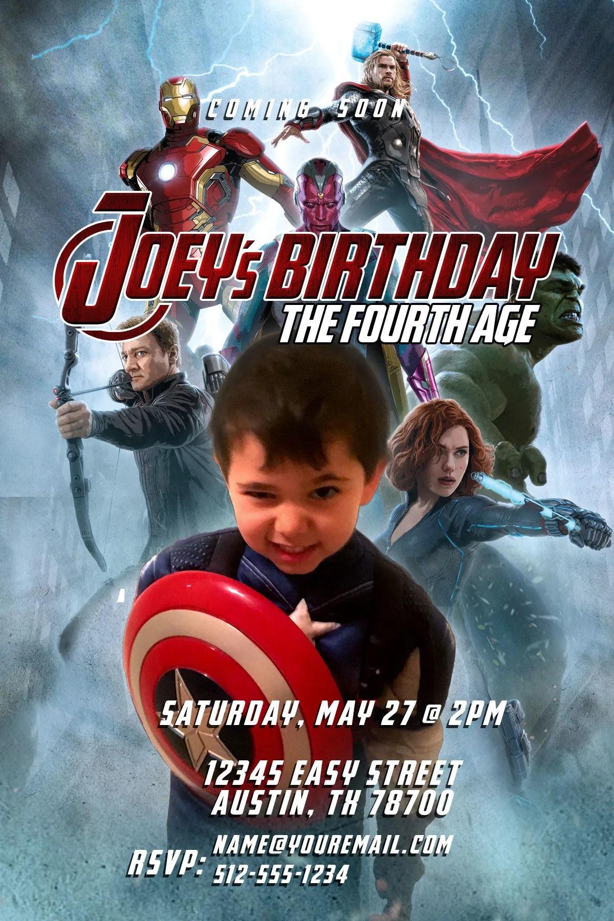 avengers birthday party invitations