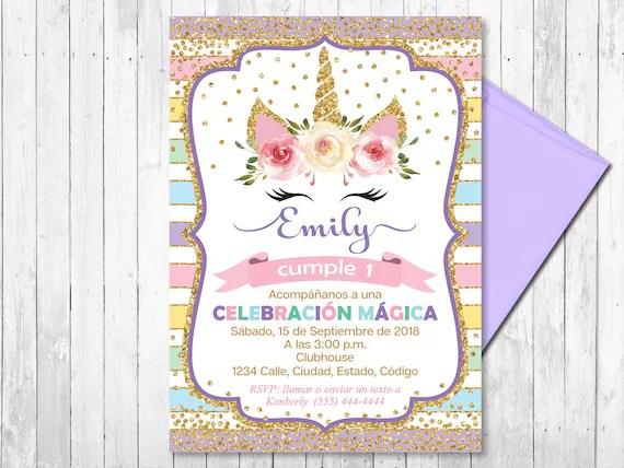 spanish unicorn invitation birthday invitation girl any ages rainbow gold unicorn head magical unicorn printable digital file