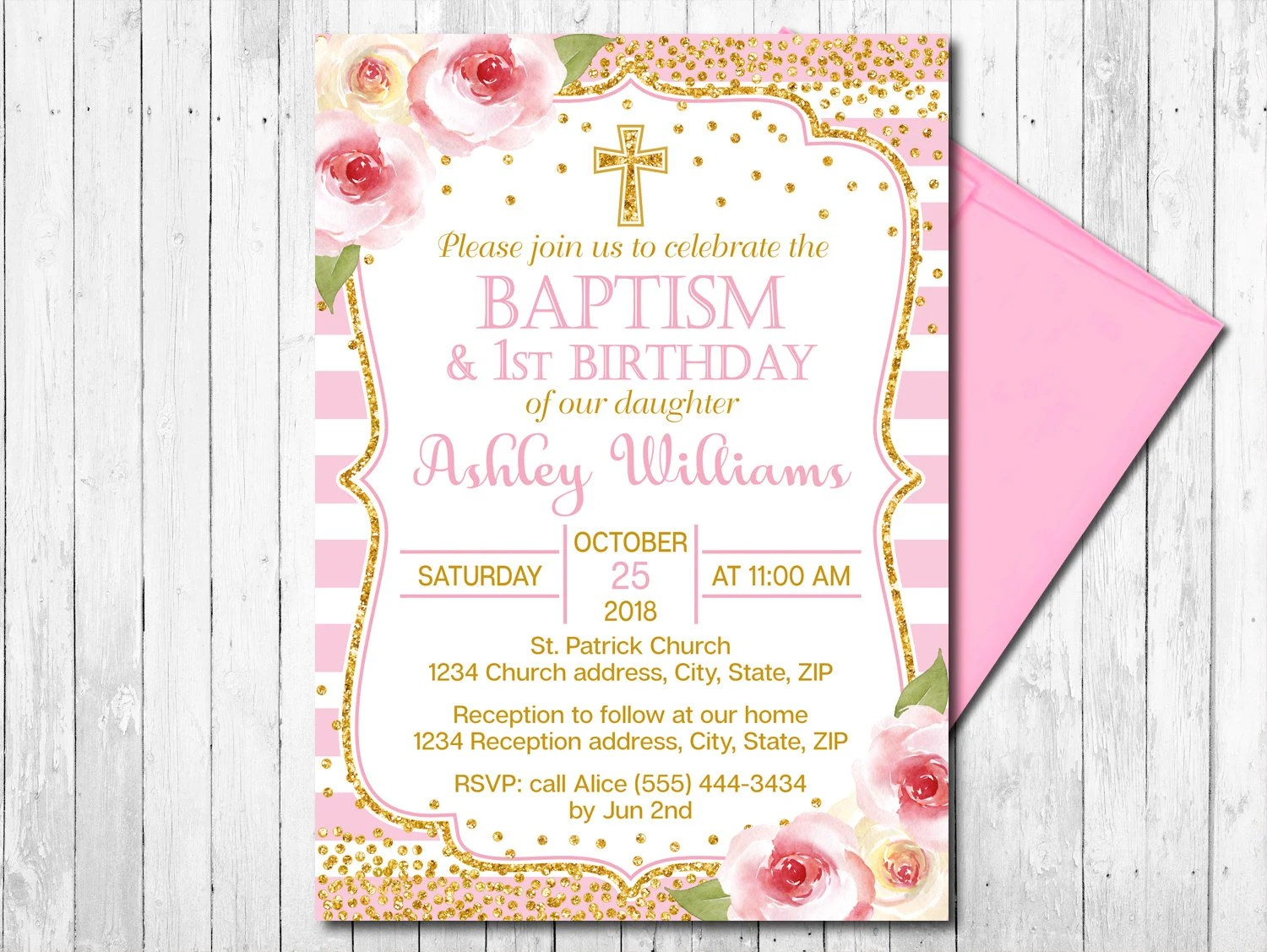 pink and gold baptism and first birthday invitation girl christening invite flowers floral gold confetti printable digital file