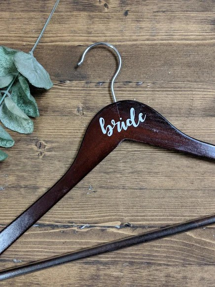 Dark Wood Bride Hanger  Vinyl Lettering Multiple Colour image 3