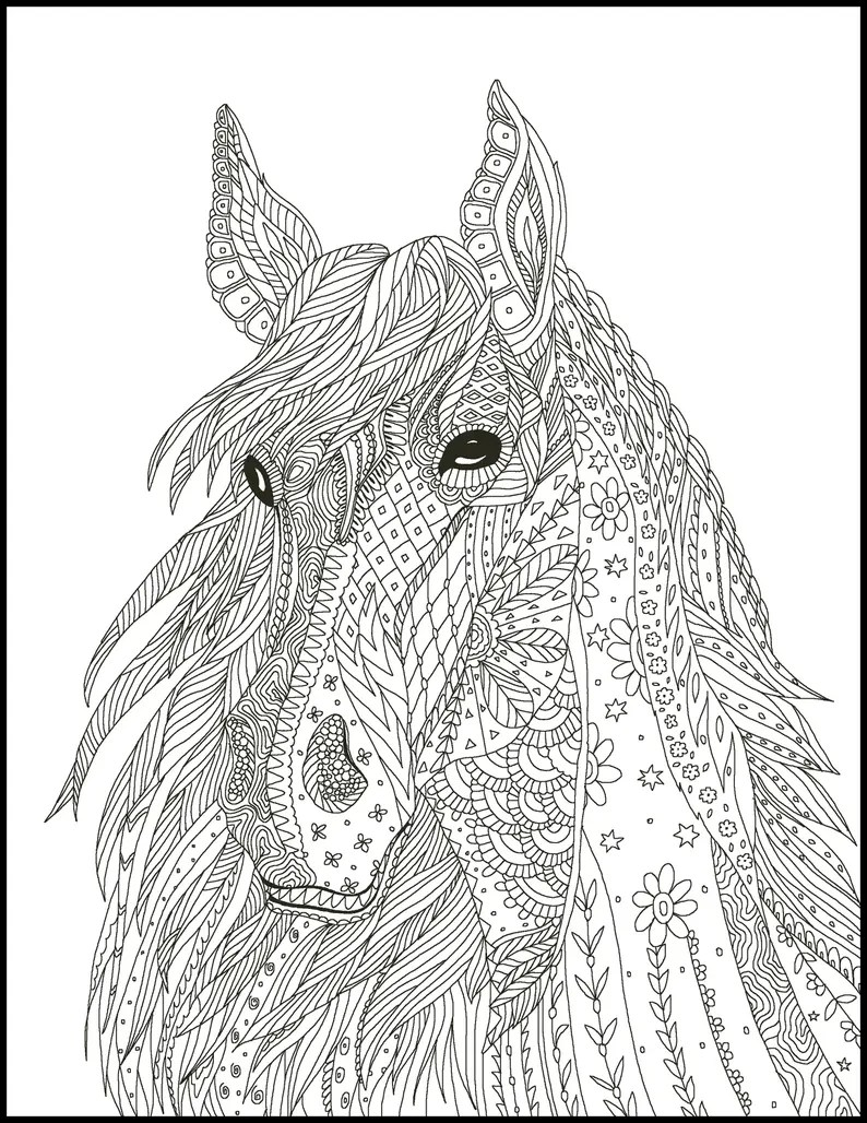 5 horse coloring pages - coloring pages for horse lovers - horse coloring  book - horse printable coloring pages - horse adult coloring pages
