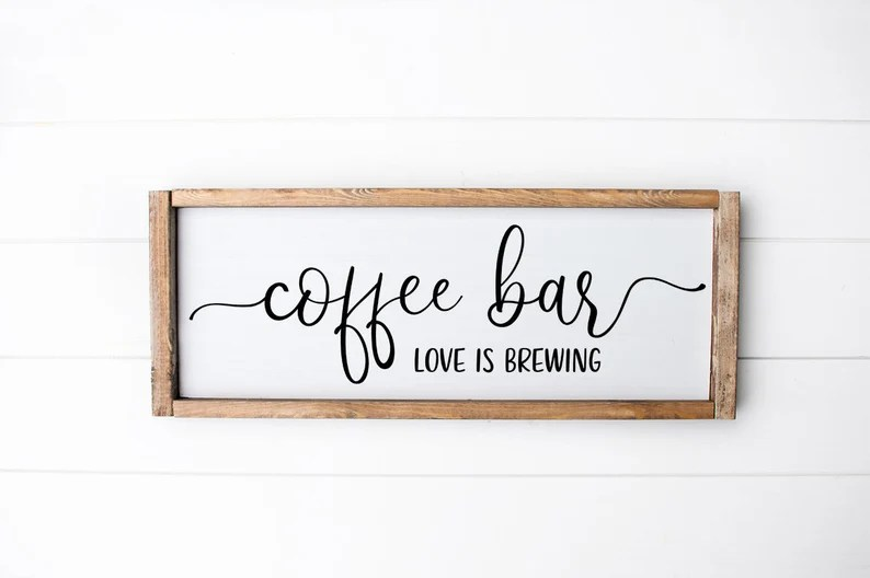 Download Farmhouse Kitchen Sign SVG Coffee Bar Love Is Brewing | Etsy