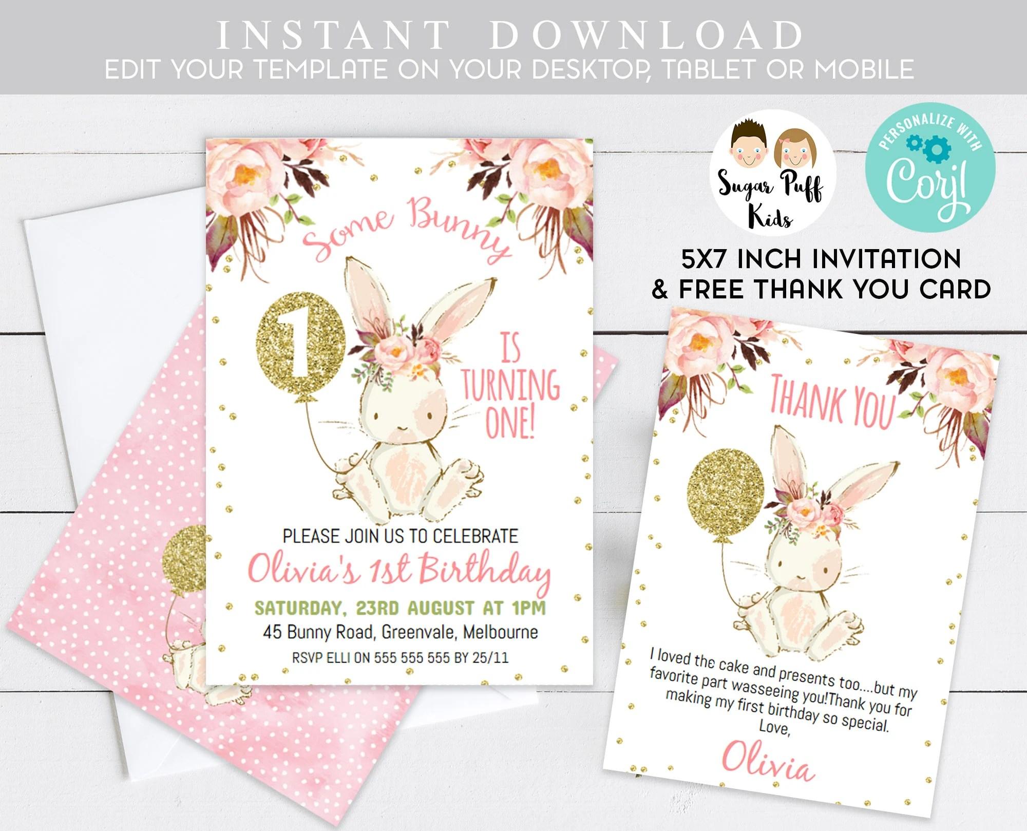 bunny birthday invitations printable
