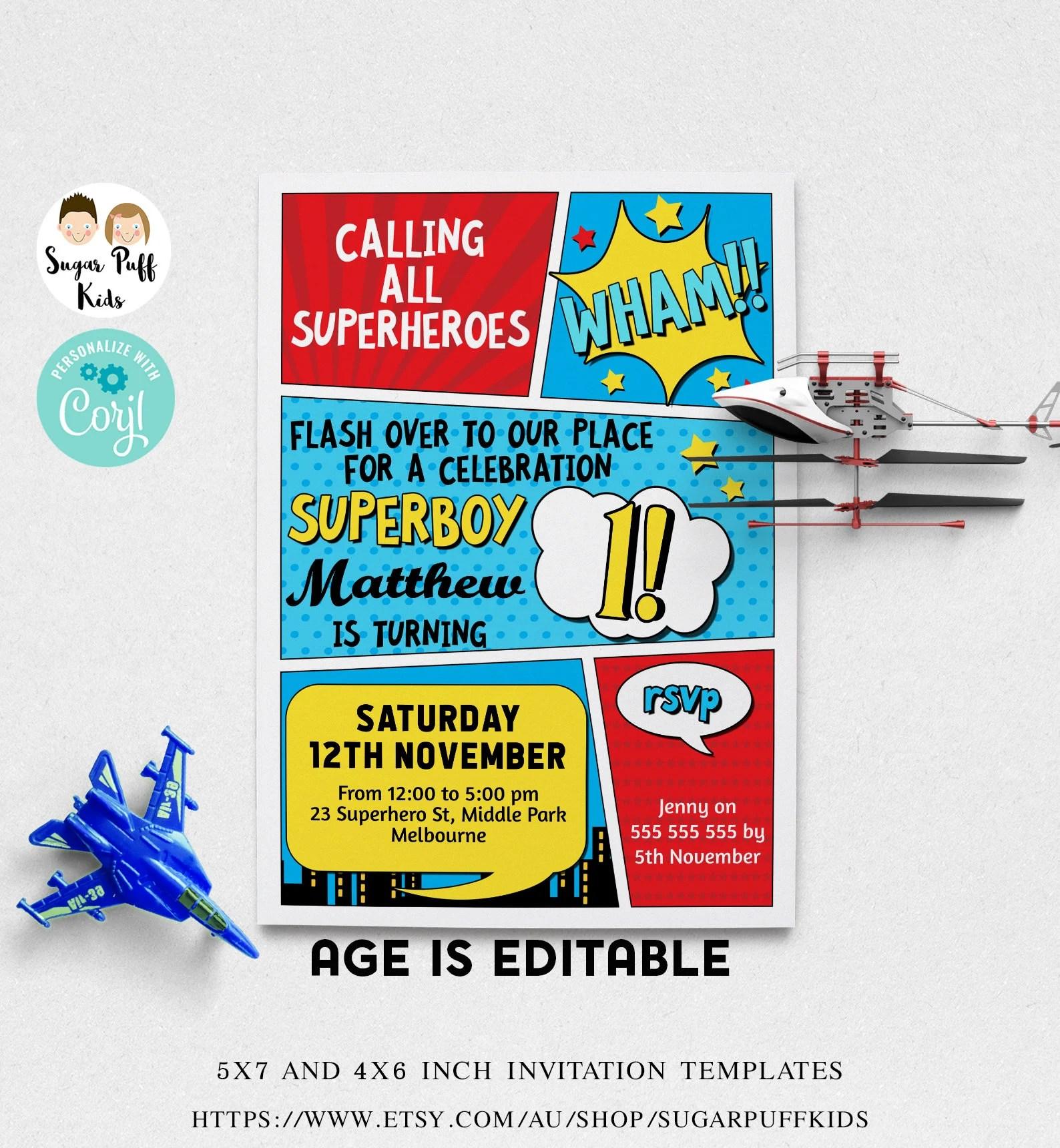 editable superhero birthday invitation