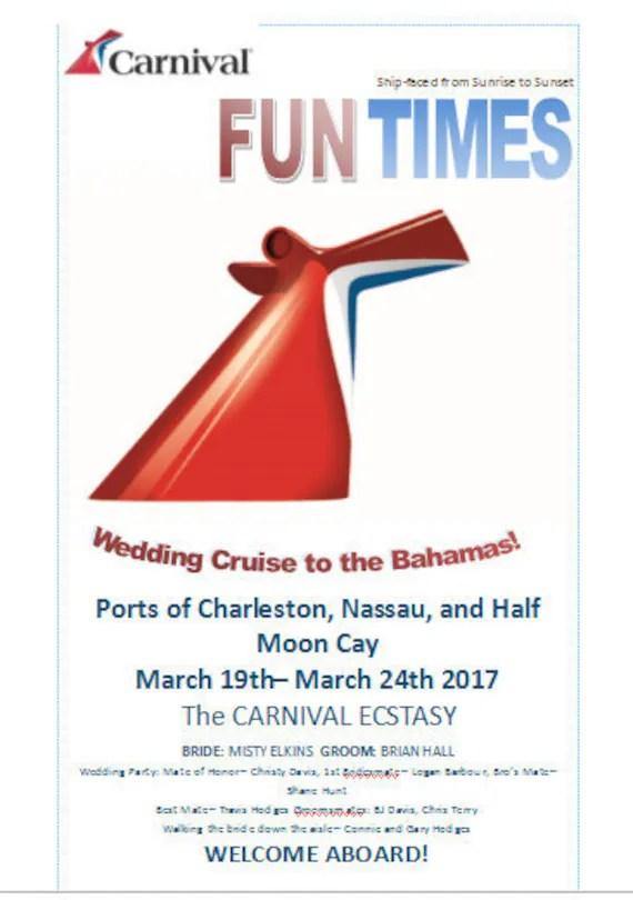 Carnival Cruise Wedding Program Template Save The Date Invitation Fun Times Newsletter Wedding Program Digital Download Or Printed