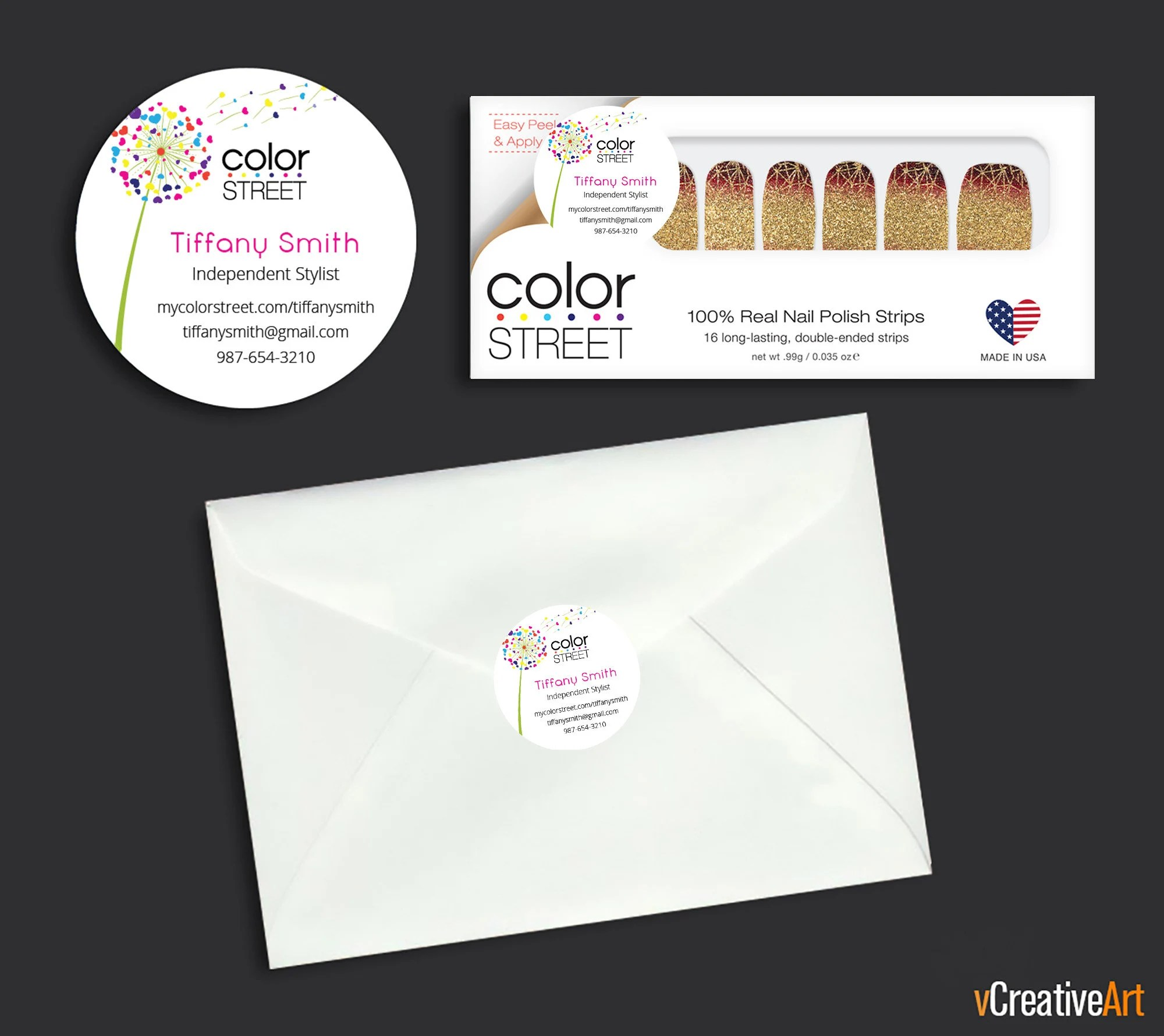 Printable Color Street Stickers Color Street Envelope Seals Color Street Nail Mail Stickers Color Street Business Cards Cs13