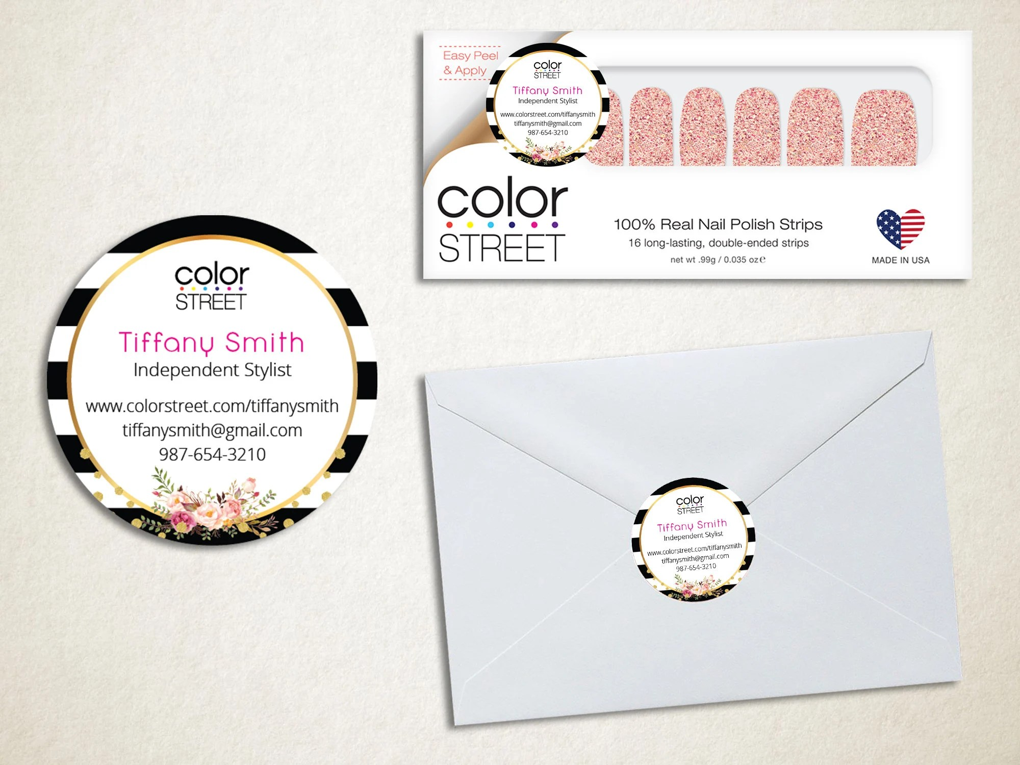 Printable Color Street Stickers Color Street Envelope Seals Color Street Nail Mail Stickers Color Street Business Cards Cs12
