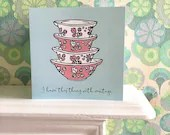 Vintage Pyrex Gooseberry Cinderella bowls greetings card