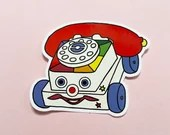 Vintage Retro 1970s Pull Along Phone Toy Vinyl Laptop Tech Sticker Decal