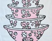 Vintage Pink Pyrex Gooseberry Cinderella 100% cotton tea towel - Large Stack