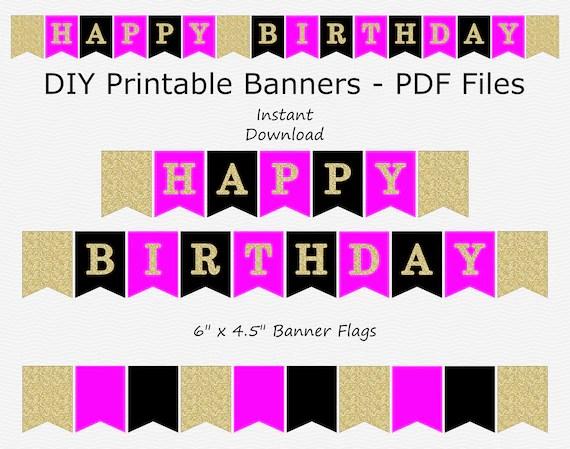Happy Birthday Banner Hot Pink Black Gold Glitter Etsy