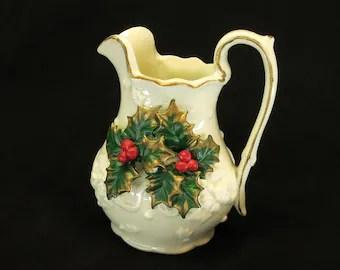 Fabulous Vintage Ceramic Creamer Pitcher Decoration Only Retro 1950 S Christmas Decorations