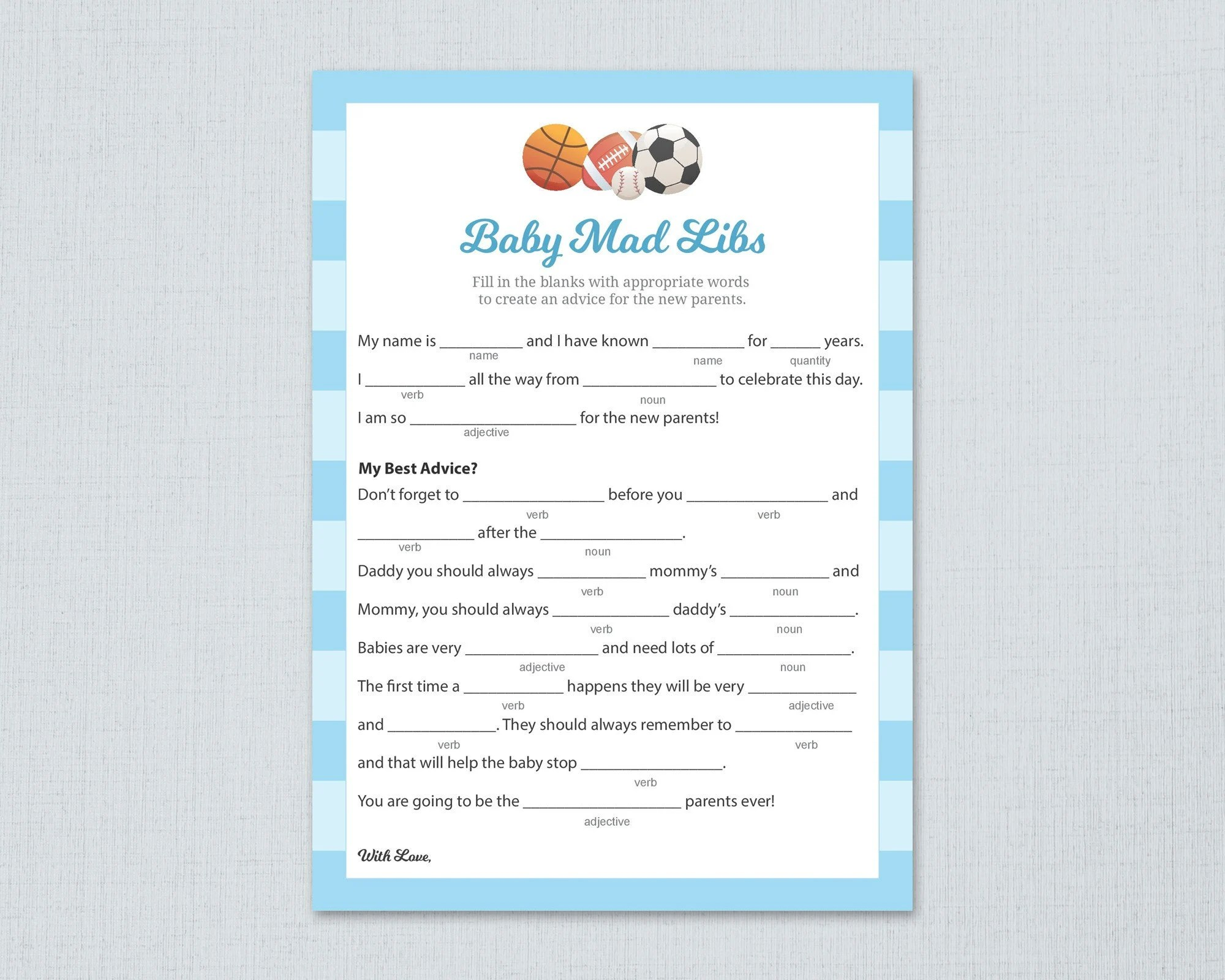 Sports Themed Baby Mad Libs Printable Advice For The New