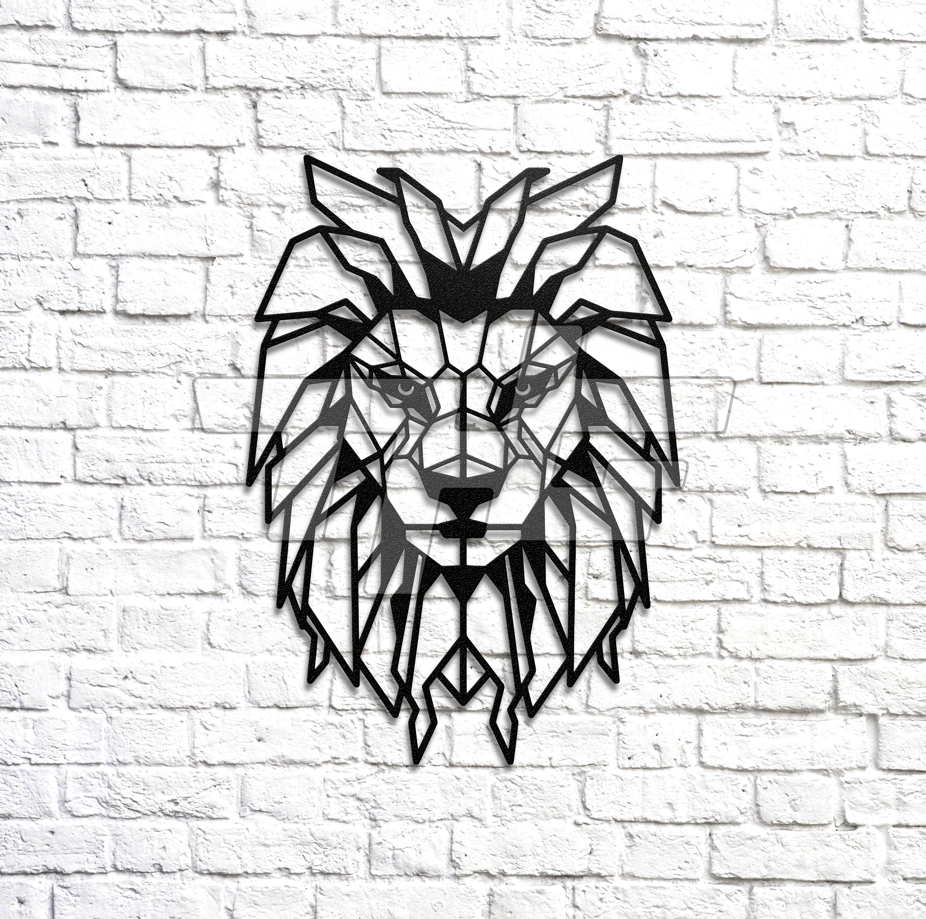 Geometric Lion Metal Wall Art
