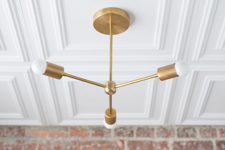 Modern Chandelier Gold Brass Sputnik Industrial Hanging