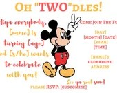 "Oh ""Two""dles Birthday Invitation Mickey Mouse Birthday Party invite, Mickey Birthday, Two-dles Invitation, Oh Two-dles, Mickey 2nd Birthday"