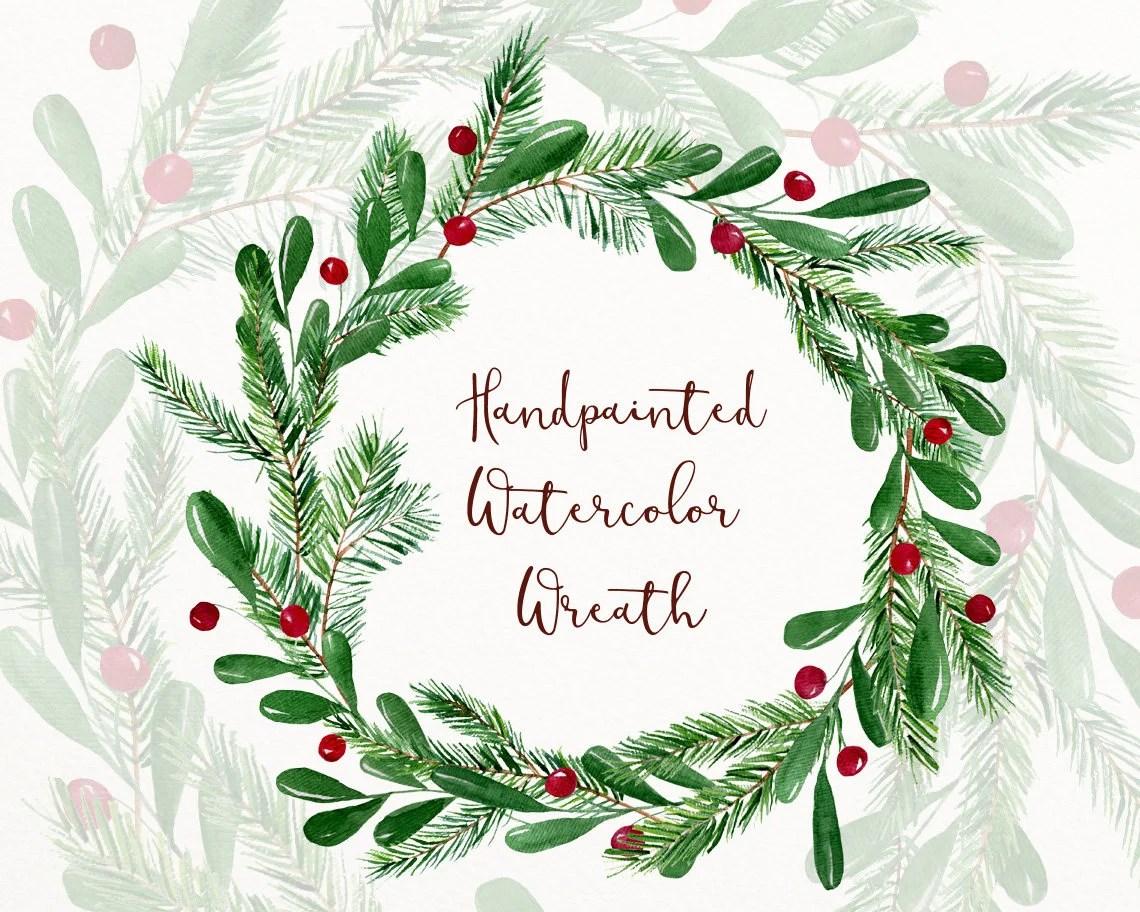 Christmas Watercolor Wreath Clipart Winter Clip Art Winter