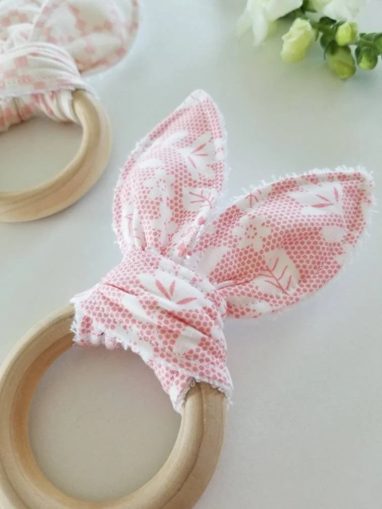 Teething Bunny Baby girl gift teether crinkle teether image 2
