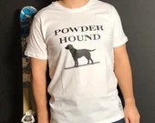 White Apres ski t shirt - Powder Hound - fun apres ski t shirt - unisex