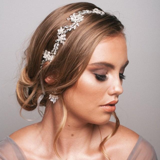 crystal bridal hair vine| wedding headpiece| bridal hair piece| floral crystal hair vine| delicate hair vine| bridal hair accessories