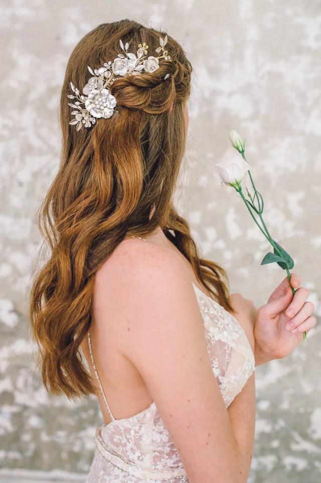 champagne blush floral bridal bridesmaids hair comb| wedding hair accessories | soft gold hair comb