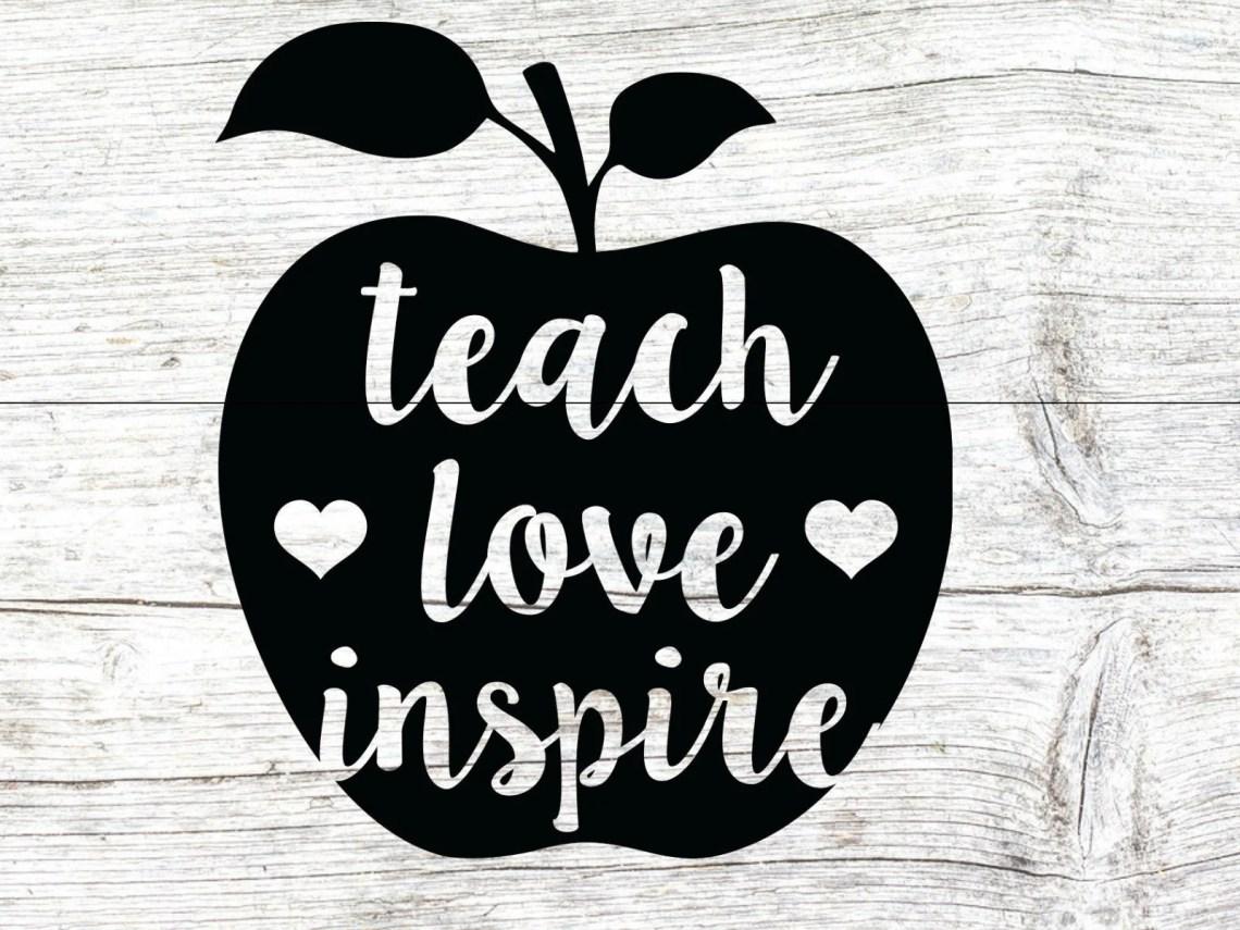 Download Teach love inspire svg teacher svg school svg teach svg | Etsy