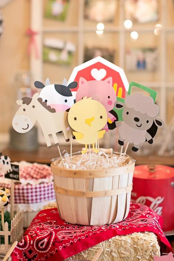 Farm Animal Centerpieces Farm Animal Birthday Party Decor Etsy