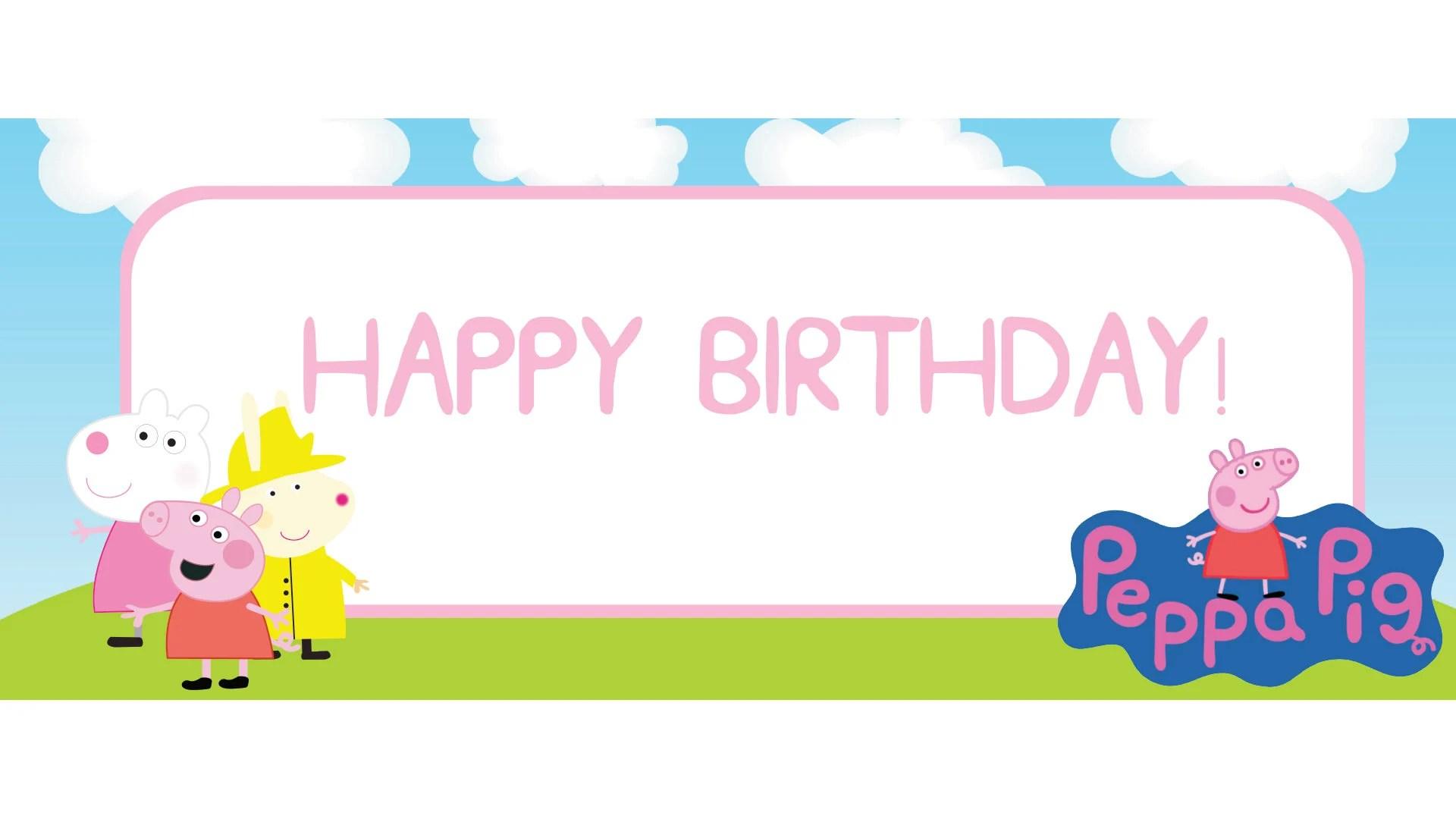 Peppa Pig Happy Birthday Banner Printable Peppa Pig Party Etsy