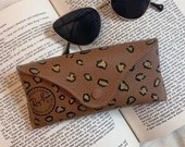 Upcycled Hand-Painted Leather RayBans Sunglasses Case -- Leopard Cheetah Print