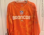Upcycled Orange Tie Dye Denver Broncos Reebok XL Long Sleeved T-Shirt