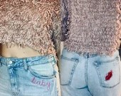 Upcycled Embroidered Baby/Lips Distressed High Waisted Denim Mom Jeans